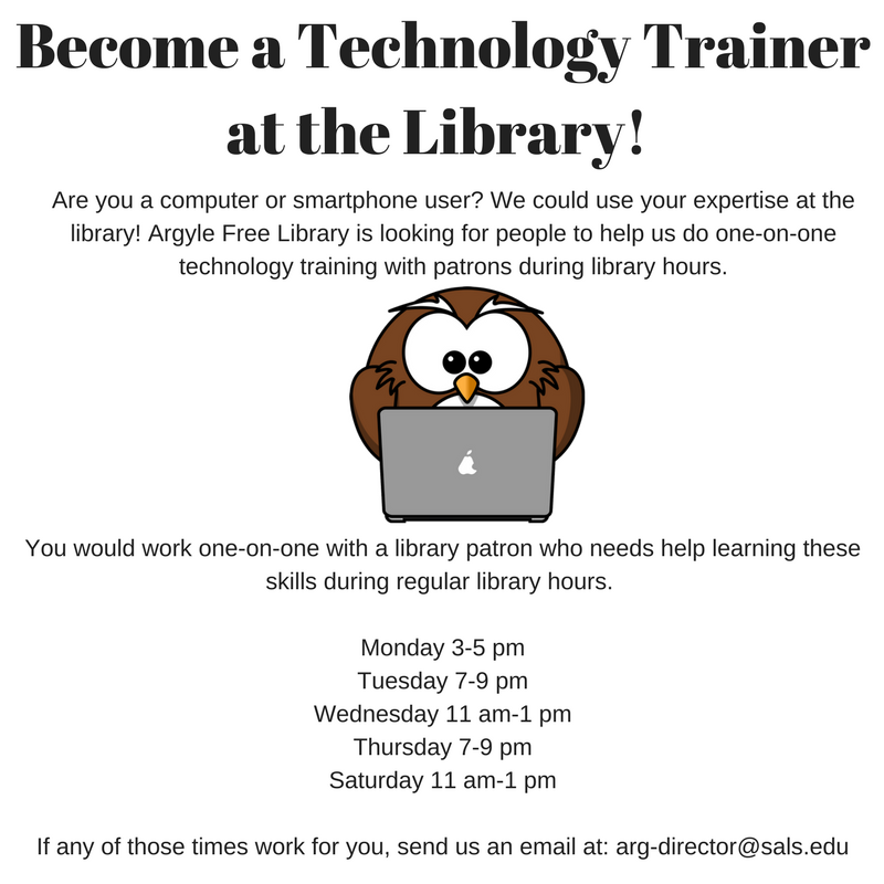 Become a Technology Trainer at the Library!