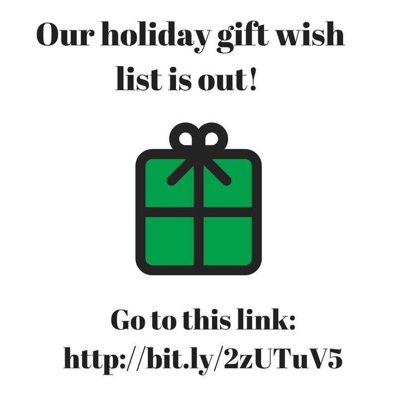 Our holiday gift wish list is out!